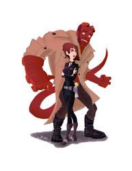 Hellboy and Liz by Ceydran