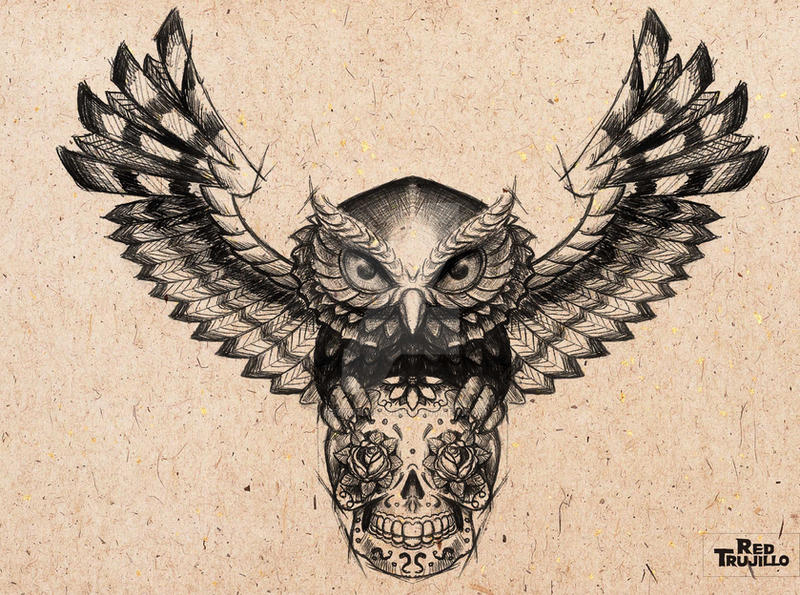 Owl Sugar Skull Tattoo Design For Brest Or Chest By Redtrujillo On