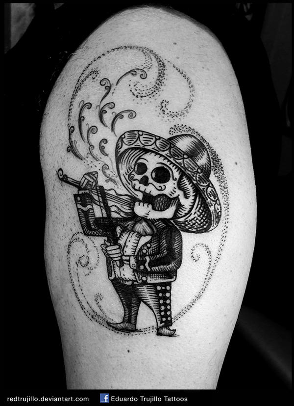 Mariachi skull tattoo mariachi day of the dead by for Day of the dead tattoo designs
