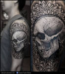trash skull mandala tattoo
