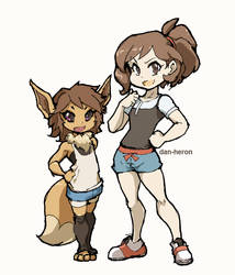 Pokemon Elaine And Eevee by dan-heron