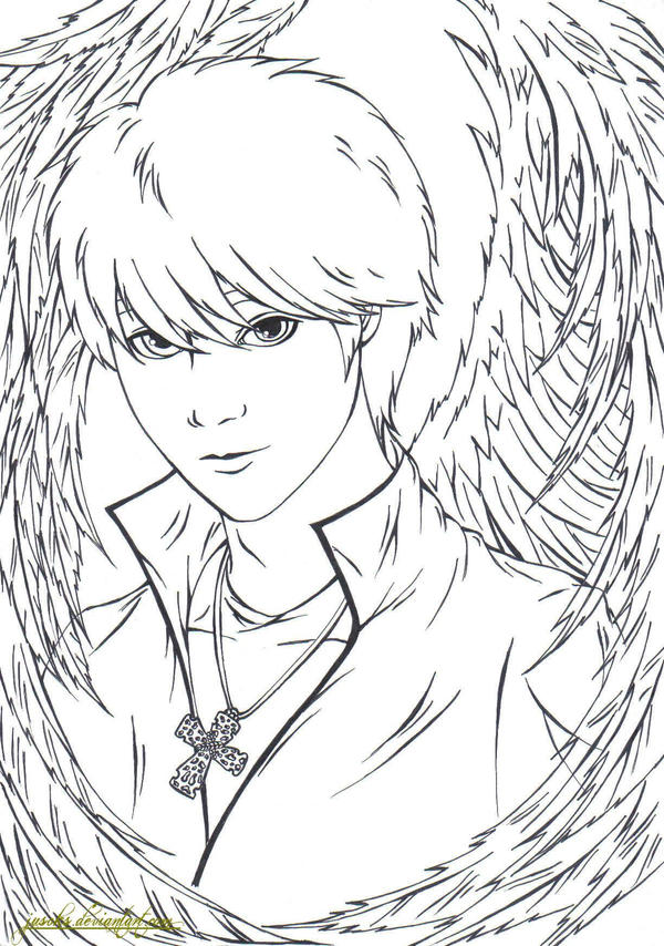 Fallen Angels Anime Coloring Pages Sketch Coloring Page