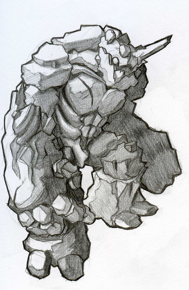 Rock Golem -Rook-Earth-Black- by KazuKun
