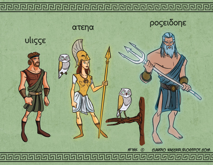 Ulysses, Athena and Poseidon - Digital color by ClaudioNaccari