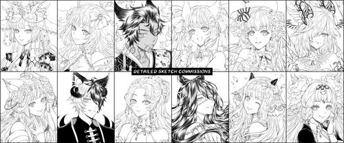 Detailed Sketch Headshot Commissions 2