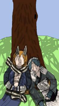 Kaden and Setsuna Asleep