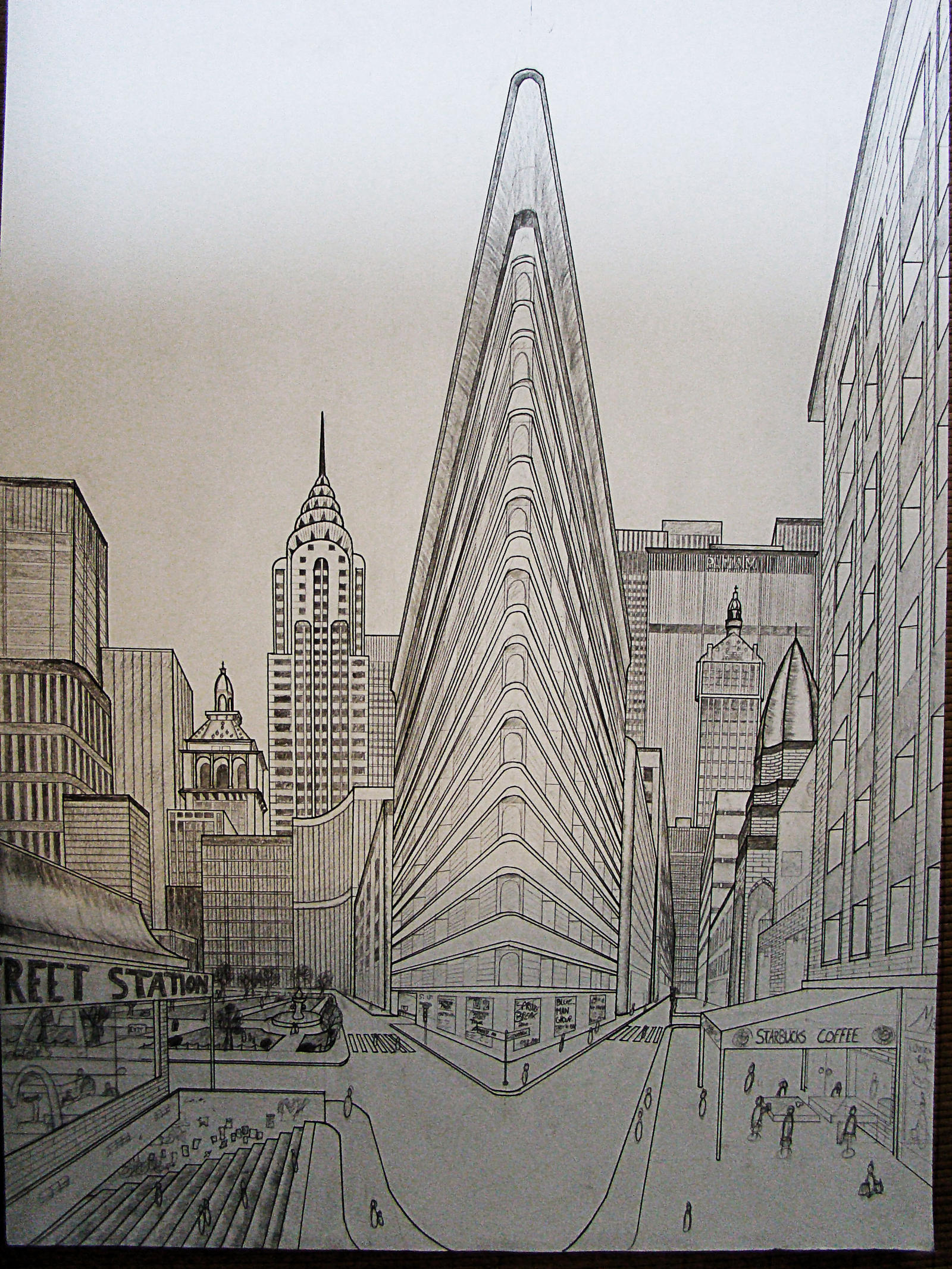 double perspective drawing ny by nilsgermain on DeviantArt