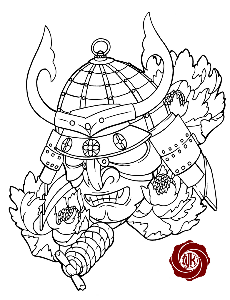 Japanese Tattoo Line Drawing : Samurai sketch tattoo by punk on deviantart