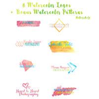8 Watercolor Logos + Bonus Watercolor Patterns by dlolleyshelp
