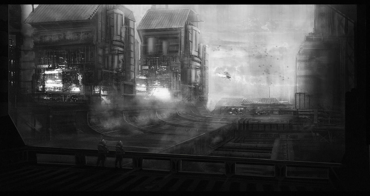 b/w factory by WiredHuman