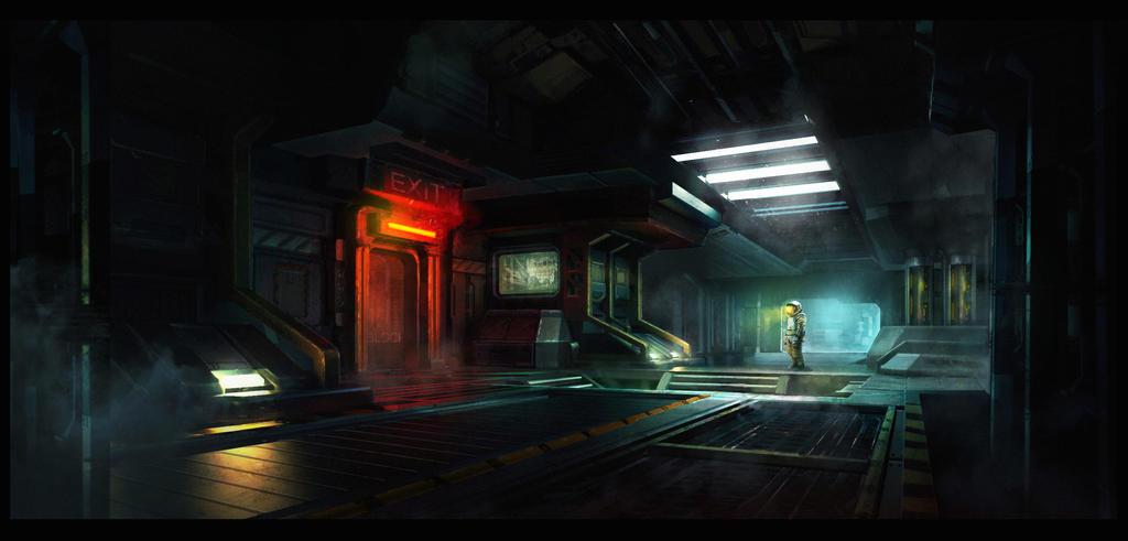 Sci-fi corridor by WiredHuman