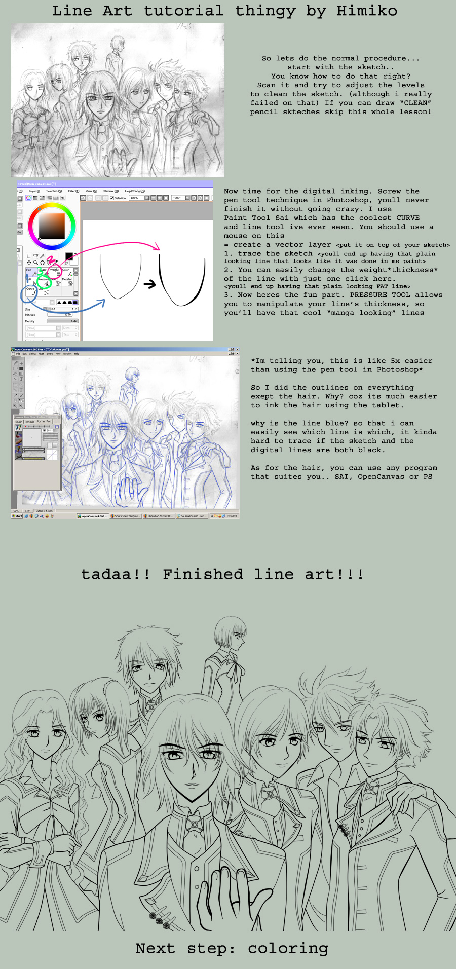 Line Art Tutorial : Line art tutorial in sai by himiko on deviantart