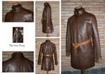 Leather buff coat