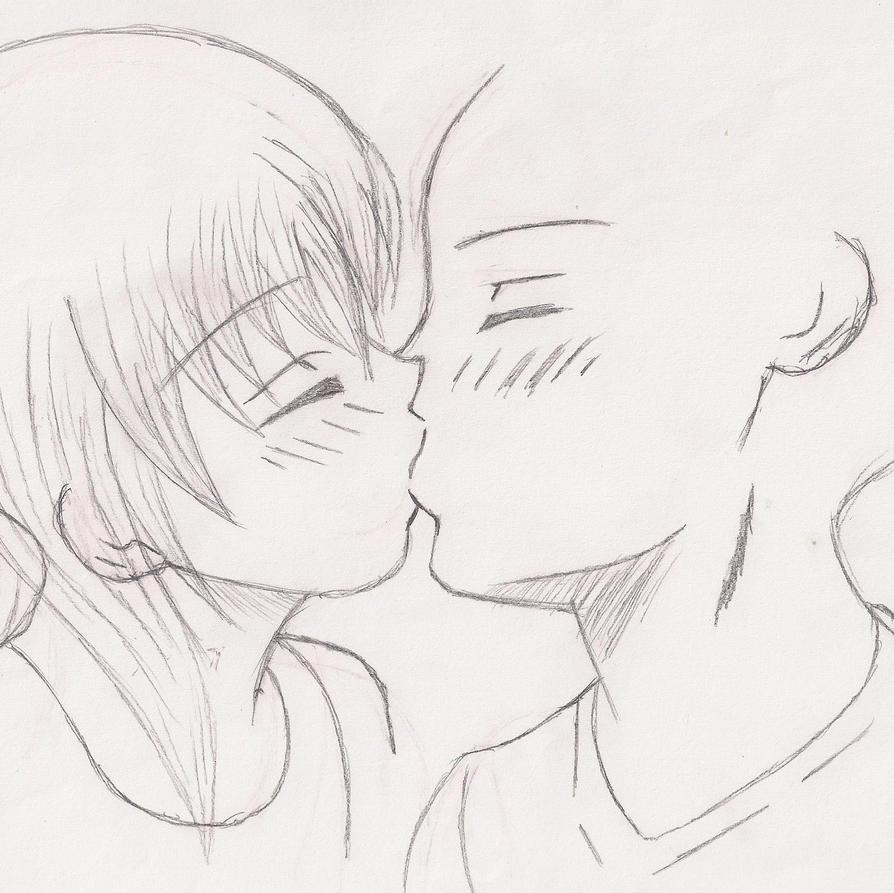 how to draw manga kissing