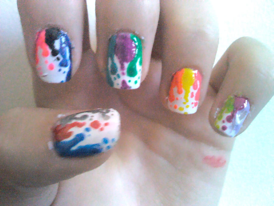 Paint Drips Nail Design by Experimently-Bernsie on DeviantArt
