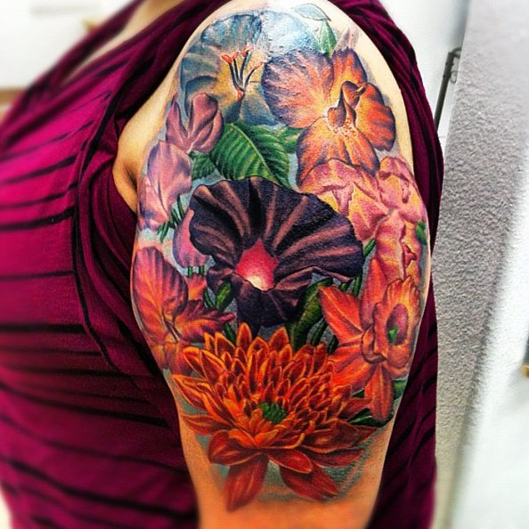 Full Color Flower Tattoo Piece By Isaacectattoo On Deviantart