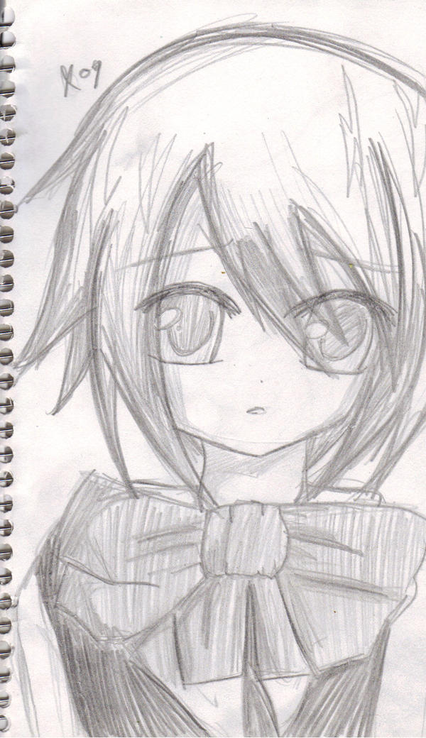 Anime girl pencil sketch by dressagefreak