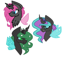 Chrysalis's (possibles) daughters by Cheschire-Kaat