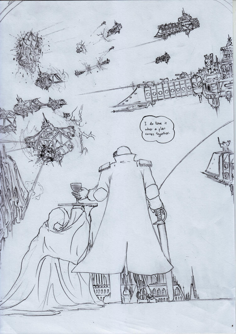 Battlefleet Gothic Comic - Flanking Maneuvers by sciencevsart