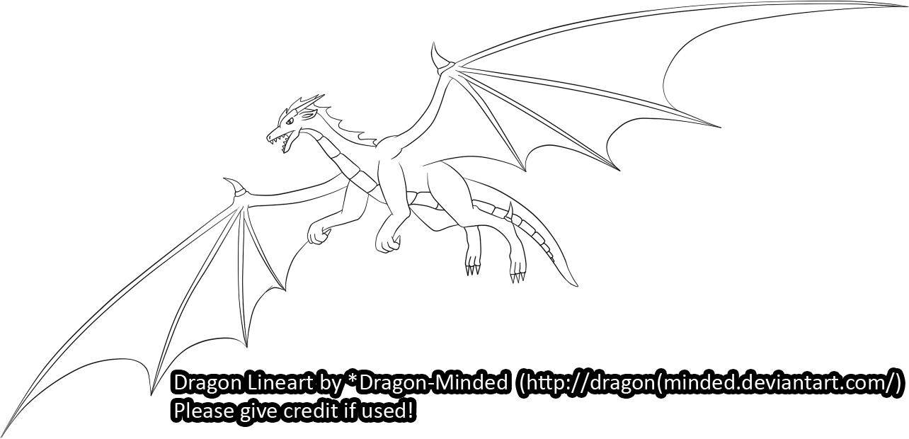 Flying Dragon Lineart By Dragonminded How To Draw