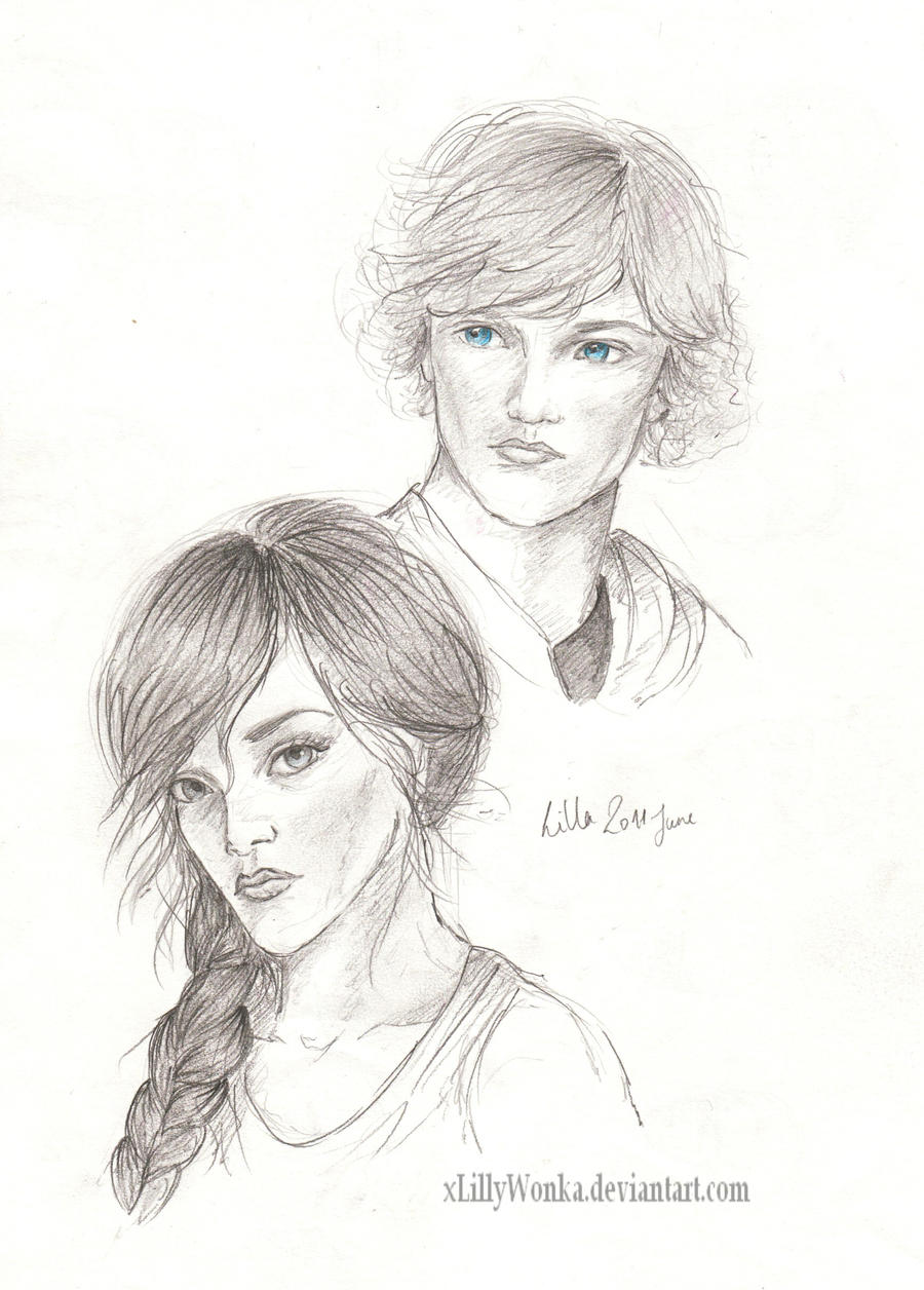 Katniss and Peeta by xLillyWonka