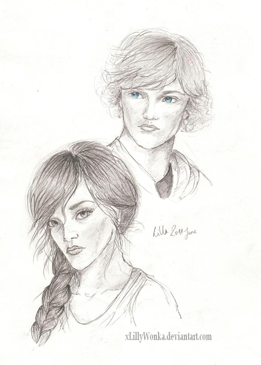 Katniss and Peeta by xLillyWonka