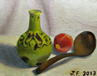 Peach, Spoon, and Vase Oil Painting by metaknightmare1234