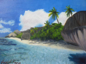 Tropical Island Painting by metaknightmare1234