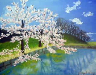 Sakura Riverside Painting by metaknightmare1234