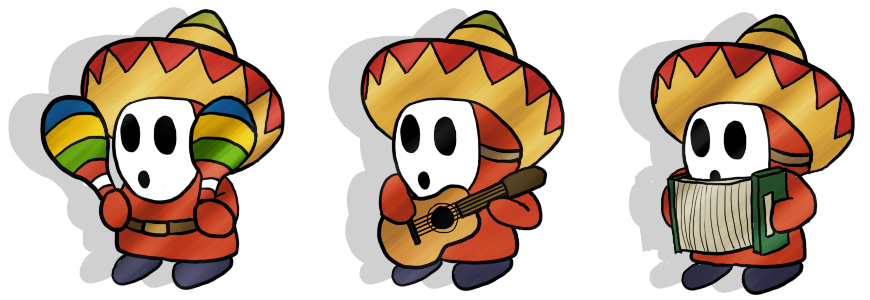 Paper Mario Mariachi Guys by Detective-May