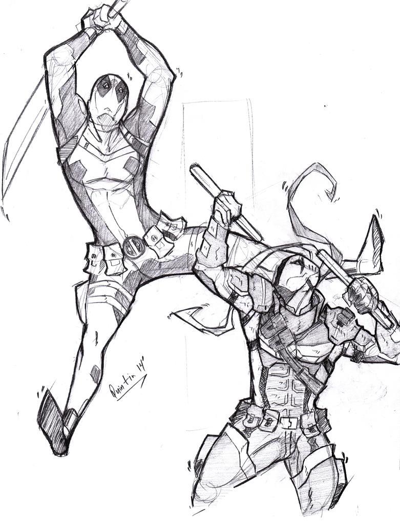 Deadpool vs deathstroke by masked ramen on deviantart for Deathstroke coloring pages