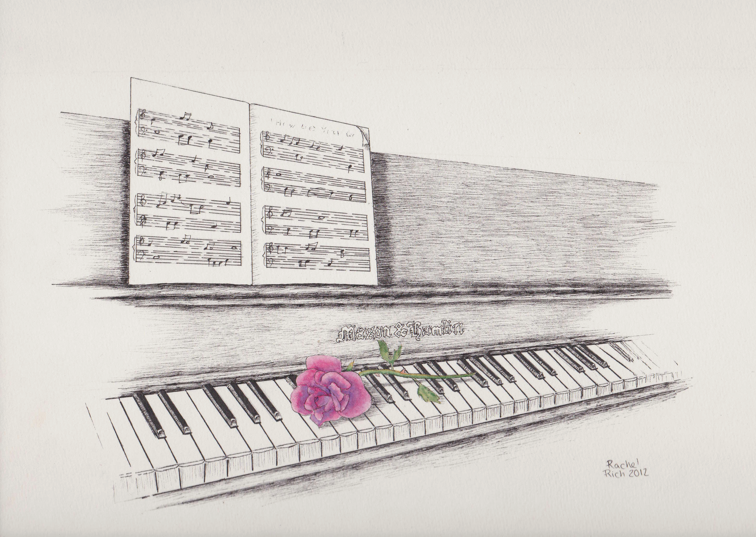 Piano and Rose by RCR123
