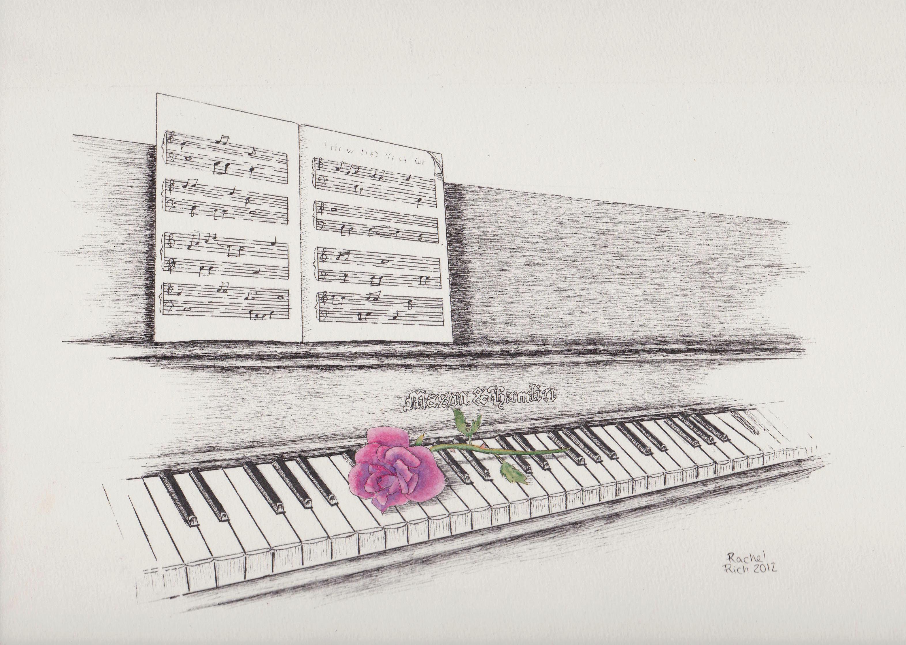Piano and Rose by RCR123