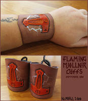 Flaming Mjollnir Cuffs by AThousandRasps