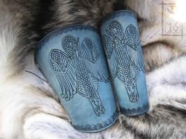 Celtic Heron Bracers by AThousandRasps
