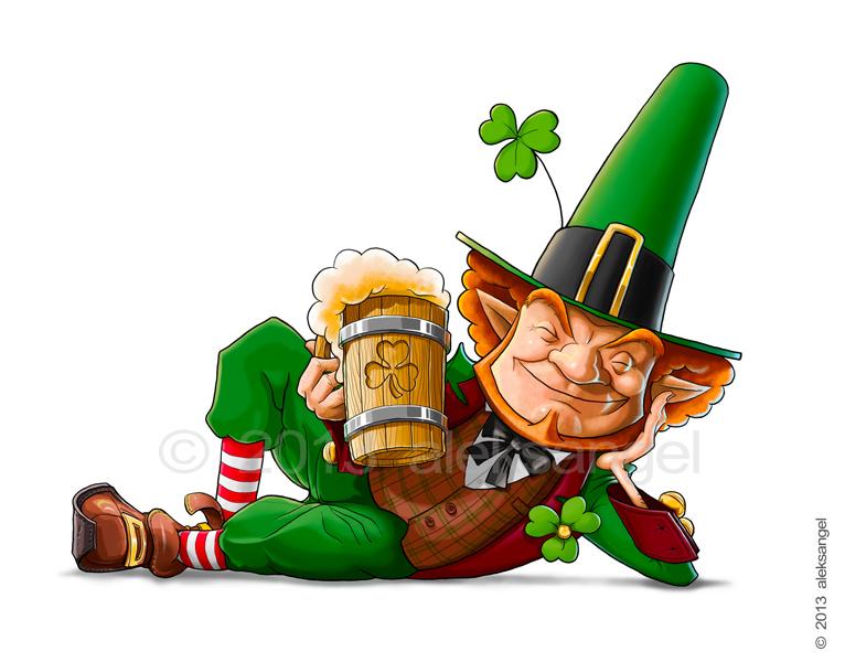 Elf leprechaun with beer for saint patrick's day.
