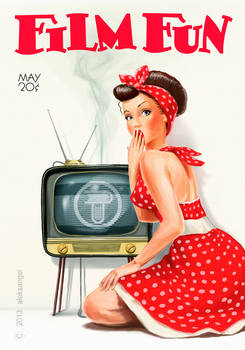 pin-up girl and vintage tv set