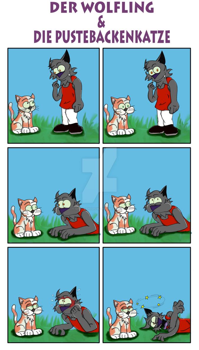 Wolfling Und Pustebackenkatze Comic by SinsOfShadow
