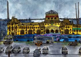 Vladivostok, Train Station Square by Vokabre