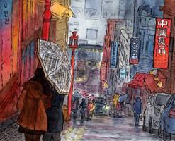 Incheon. Rain in Chinatown by Vokabre