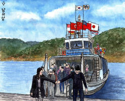 Nami Island, Naminara Republic. Arrival of a ferry by Vokabre