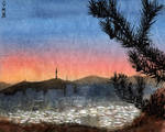 Seoul. View of sunset from the city wall by Vokabre