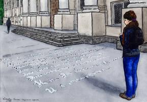 Writing on asphalt by Vokabre