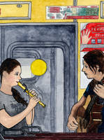 Musicians on a train by Vokabre