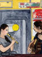 Musicians on a train