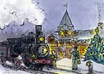 Station, engine, switch, snow by Vokabre