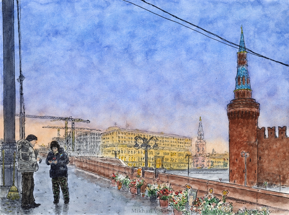 Nemtsov Bridge (after a raid) by Vokabre