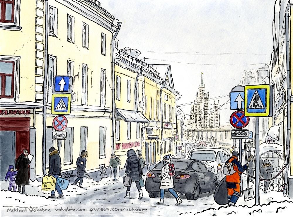 At Kitay Gorod, after heavy snowfall by Vokabre