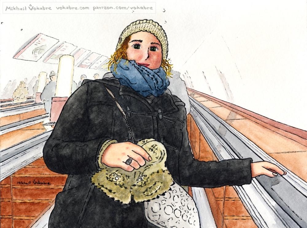 On an escalator, at Taganskaya by Vokabre