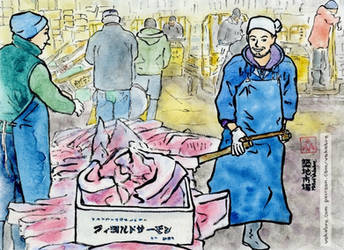 At Tsukiji Market, Tokyo by Vokabre